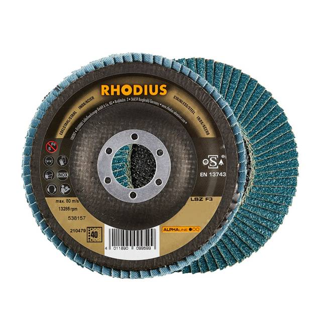 Rhodius sanding flap disc 100 x 16mm grit 40